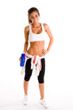 Exercise girl holding bottle Stock Photo