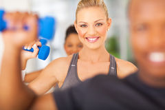 Exercise gym dumbbells Stock Images