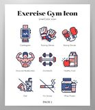Exercise gym icons LineColor pack vector illustration