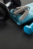Exercise at gym with weight lifting and hand grip, copy space Royalty Free Stock Image