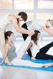 Exercise for hips with partner Royalty Free Stock Photography