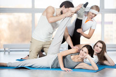 Exercise for hips with partner Stock Image