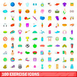 100 exercise icons set, cartoon style. 100 exercise icons set in cartoon style for any design vector illustration Royalty Free Stock Photo