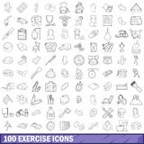 100 exercise icons set, outline style Stock Images