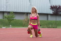 Exercise With Kettle Bell Outdoor Royalty Free Stock Image