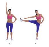 Exercise for lateral abs. Step by step instructions for lateral abs, lifting arms and legs one by one stock images
