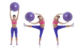 Exercise for lateral abs with a swiss ball. Step by step instructions for lateral abs holding a swiss ball. Bend left and right while holding a swiss ball royalty free stock photos