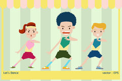 Exercise let 's dance. Vector illustration group of people are exercise aerobic dance Royalty Free Stock Photography