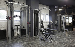 Exercise machines in a gym Royalty Free Stock Photos