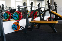 Exercise machines in the gym Stock Images