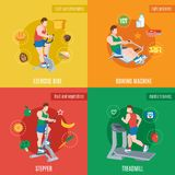 Exercise Machines Set Royalty Free Stock Photos