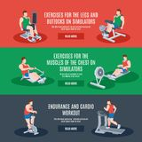 Exercise Machines Set Stock Photos