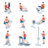 Exercise Machines Set Stock Images