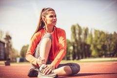 Exercise make my body and brain healthy. Sports person royalty free stock photos