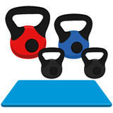 Exercise Mat And Weight Illustration Isolated On White Background Royalty Free Stock Photos