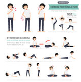 Exercise for muscle pain infographic Royalty Free Stock Photography