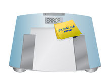 Exercise now sign on a weight scale. illustration Royalty Free Stock Photo