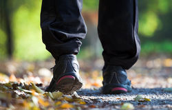 Exercise outdoors, walking sport shoes Stock Photography