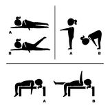 Exercise poses for healthy pictograms illustration Stock Photos
