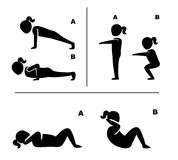 Exercise poses for healthy pictograms illustration Royalty Free Stock Photo