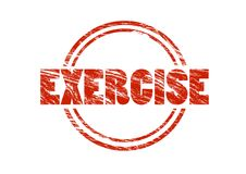 Exercise Red vintage rubber stamp isolated on white background Royalty Free Stock Photography