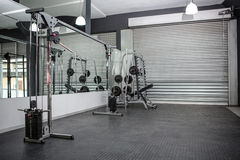 Exercise room with shutters and mirrors Royalty Free Stock Photos