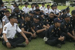 Exercise Safety Unit Officers Police Headquarters Building in Surakarta stock photography