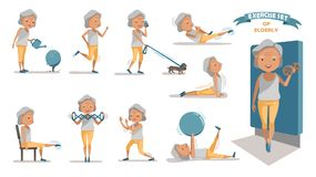 Exercise. Senior exercise of female. exercising character design set. at home with a simple daily routine. Concept of health care people in the elderly. Elderly royalty free illustration