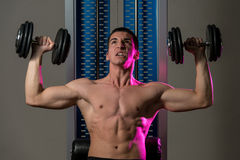 Exercise For Shoulders Dumbbell Presses Royalty Free Stock Image