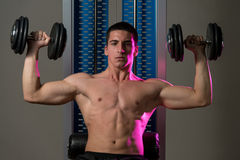 Exercise For Shoulders Dumbbell Presses Royalty Free Stock Photo