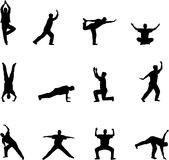 Exercise silhouettes Royalty Free Stock Image