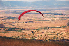 Exercise of the sky. Paragliders in Prilep, Macedonia Royalty Free Stock Image