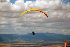 Exercise of the sky. Paragliding in Macedonia Royalty Free Stock Image