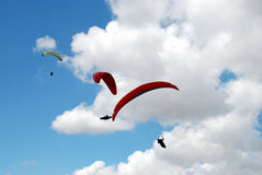 Exercise of the sky. Paragliders in Prilep, Macedonia Stock Photography