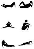 Exercise Stick Figure Set. An image of stick figures exercising Royalty Free Stock Photos