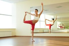 Exercise on strestching Royalty Free Stock Images