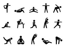 Exercise stretching icons. Isolated black exercise stretching icons from white background Stock Photo