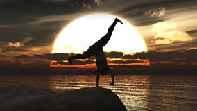 Exercise and sunset Royalty Free Stock Photo