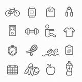 Exercise symbol line icon set Stock Photo