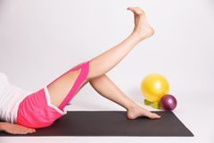 Exercise with taped injured leg Stock Photos