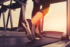 Exercise treadmill cardio running workout at fitness. Gym of woman taking weight loss with machine aerobic for slim and firm healthy in the morning royalty free stock photo