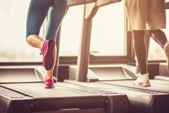 Exercise on treadmill. royalty free stock image