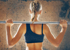 Exercise with weight bar stock photography