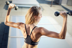 Exercise with weights Stock Image