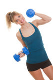 Exercise woman. Exercising with weights royalty free stock images