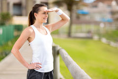 Exercise woman outdoors Royalty Free Stock Images