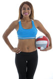 Exercise: Woman with Volleyball royalty free stock photos