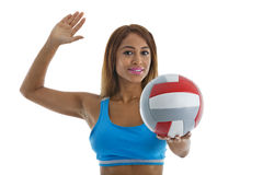 Exercise: Woman with Volleyball Royalty Free Stock Images