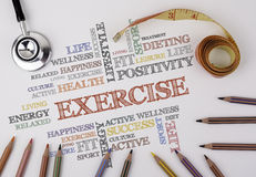 EXERCISE word cloud, fitness, sport, health concept.  Royalty Free Stock Photos