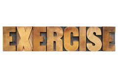 Exercise word in wood type Stock Photography